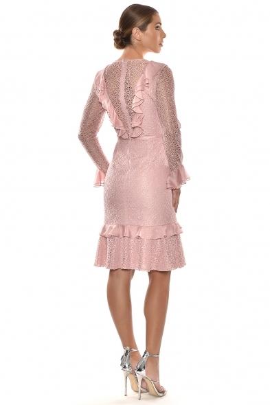 Alfa Beta - Pembe Dantelli Yakası Fırfırlı Midi Boy Elbise (1)