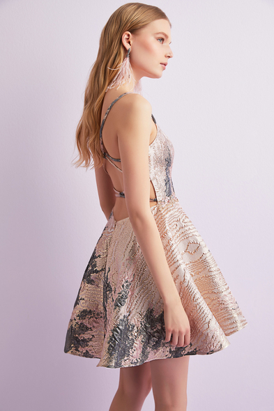 Alfa Beta - Pembe İnce Askılı Brokar Kumaş Kısa Elbise (1)