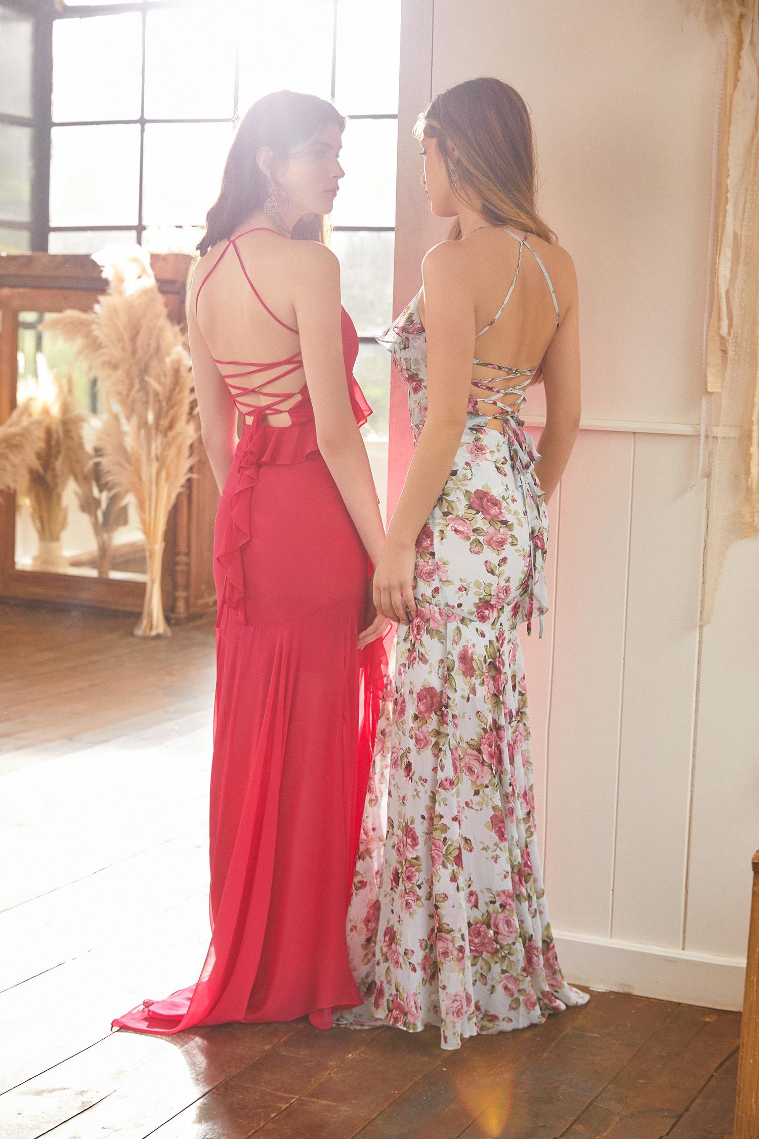 Pembe İnce Askılı Farbala Detaylı Şifon Uzun Elbise - Thumbnail