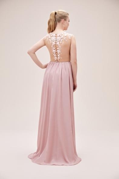 Viola Chan - Pembe Kolsuz Dantel İşlemeli Şifon Etekli Uzun Elbise (1)