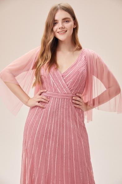 Viola Chan - Pembe Payet İşlemeli Tül Kollu Kruvaze Yaka Uzun Elbise (1)