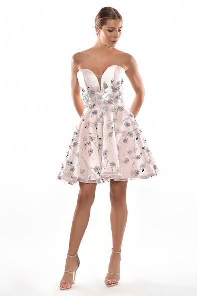 Alfa Beta - Pembe Straplez Kalp Yaka Kabarık Etekli Kısa Elbise