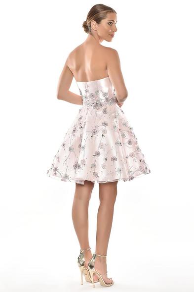 Alfa Beta - Pembe Straplez Kalp Yaka Kabarık Etekli Kısa Elbise (1)