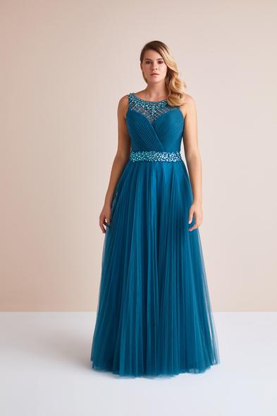 Viola Chan - Petrol Mavisi Askılı Taş İşlemeli Uzun Büyük Beden Abiye Elbise (1)