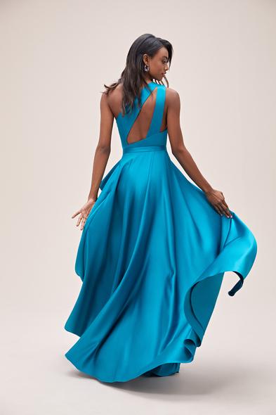 Viola Chan - Petrol Mavisi Tek Omuz Yırtmaçlı Saten Elbise (1)