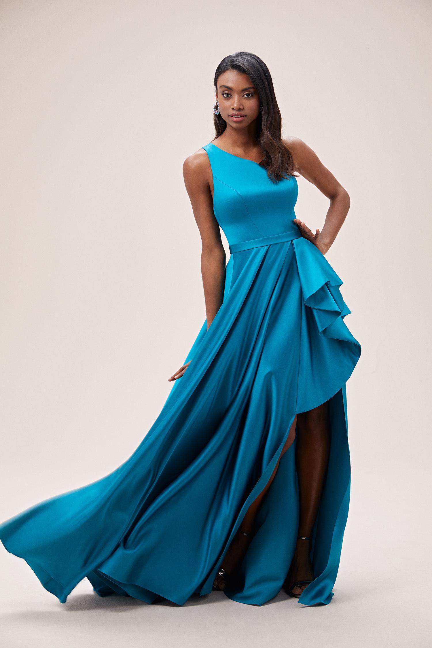 Petrol Mavisi Tek Omuz Yırtmaçlı Saten Elbise - Thumbnail