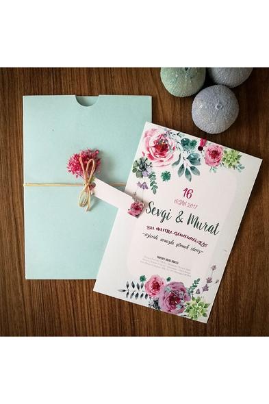 Bridalook - Pink Flower Davetiye