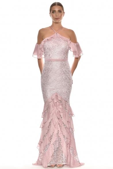 Alfa Beta - Pudra Rengi Çapraz İp Askılı Düşük Omuzlu Uzun Elbise