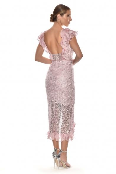 Alfa Beta - Pudra Rengi Dantel İşlemeli Fırfırlı Kap Kol Yırtmaçlı Büyük Beden Elbise (1)