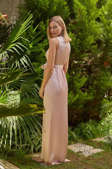 OLEG CASSINI TR - Pudra Rengi V Yaka Uzun Saten Elbise (1)