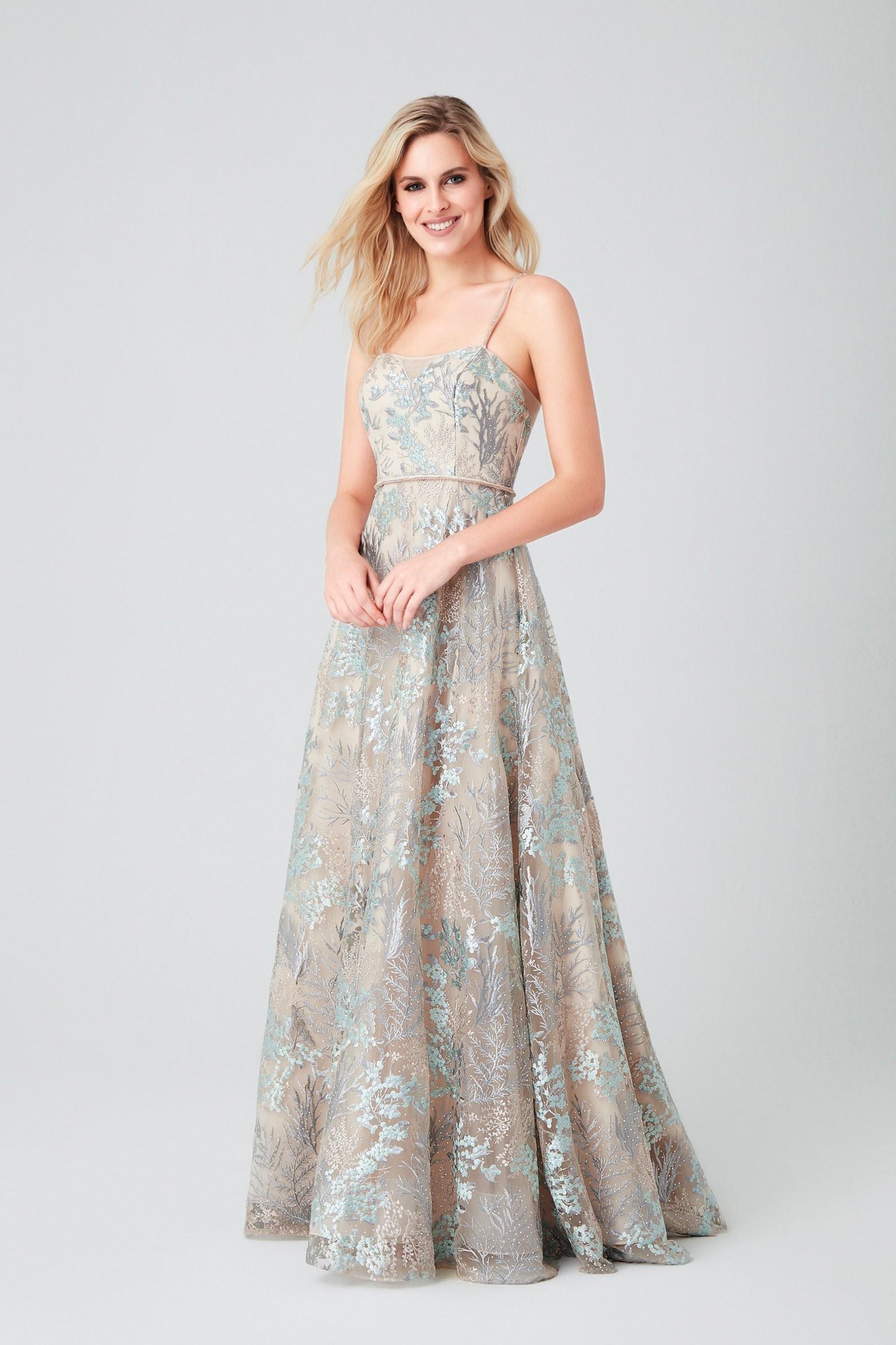 Renkli Askılı Dantel Uzun Gece Elbisesi - Thumbnail