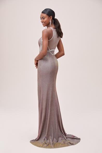Viola Chan - Rose Gold Metalik Şifon Yırtmaçlı Uzun Abiye Elbise (1)