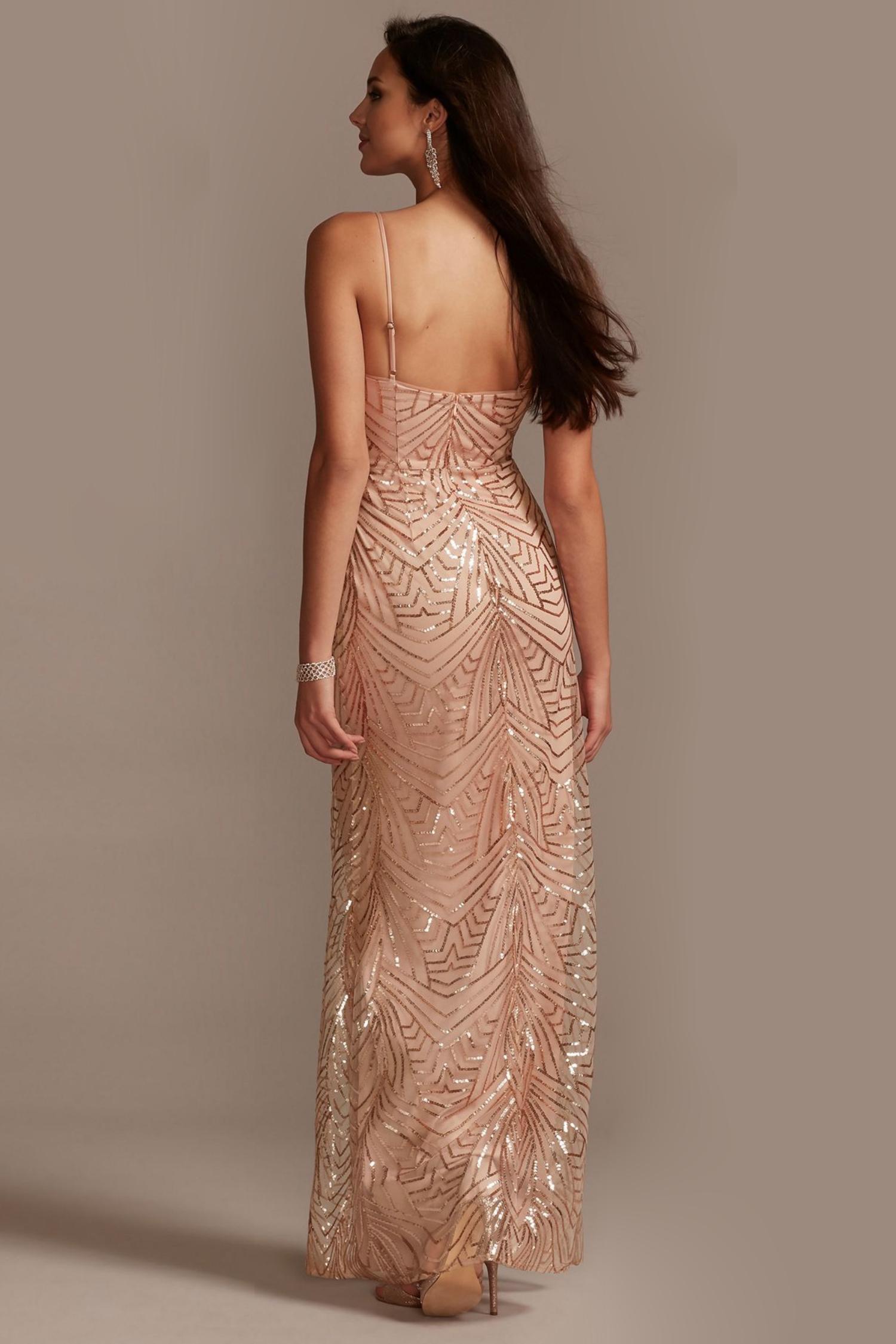 Rose Gold Payet İşlemeli Askılı Dar Kesim Uzun Elbise - Thumbnail