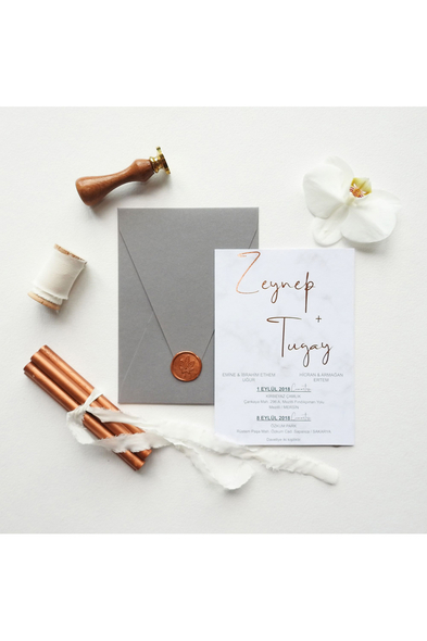 Save the Date - Rose Gold Romance Davetiye (1)