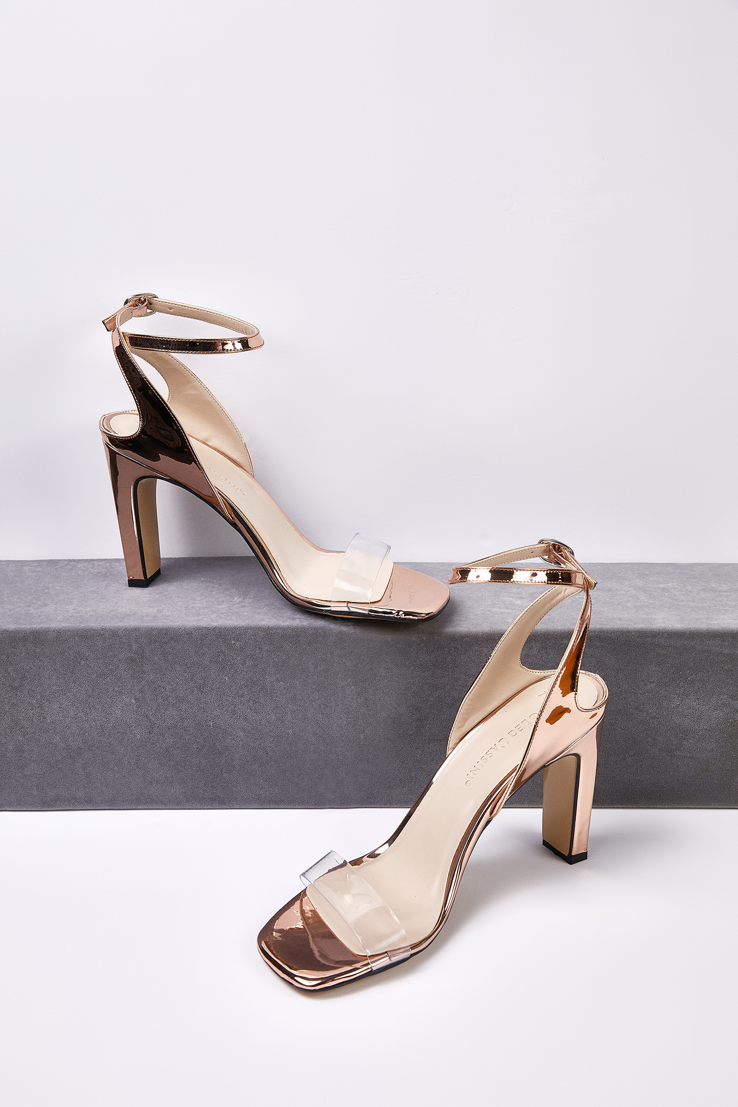 Rose Gold Şeffaf Bantlı Dolgu Topuklu Abiye Ayakkabısı - Thumbnail