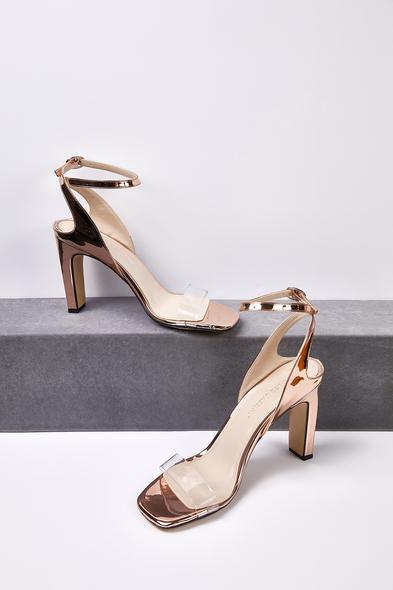 OLEG CASSINI TR - Rose Gold Şeffaf Bantlı Dolgu Topuklu Abiye Ayakkabısı