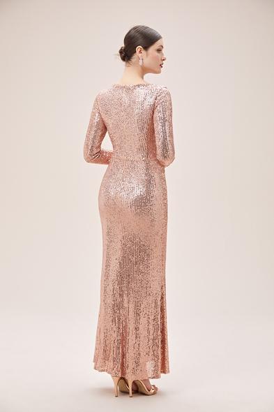 Oleg Cassini - Rose Gold V Yaka Uzun Kol Payetli Uzun Abiye Elbise (1)