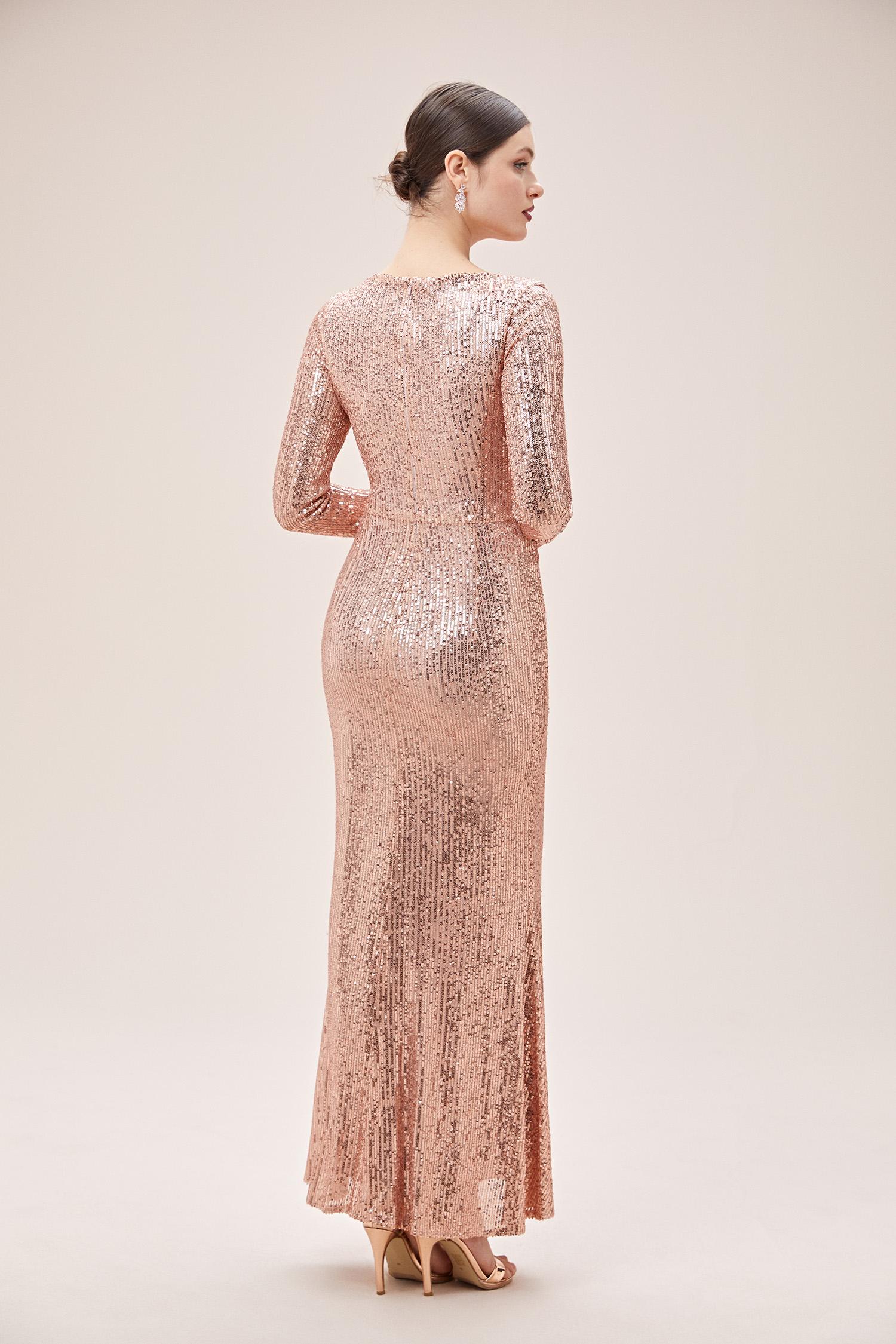Rose Gold V Yaka Uzun Kol Payetli Uzun Abiye Elbise - Thumbnail