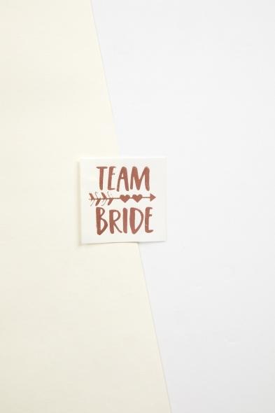 OLEG CASSINI TR - Rose Gold Yapıştırmalı Dövme Team Bride Yazılı