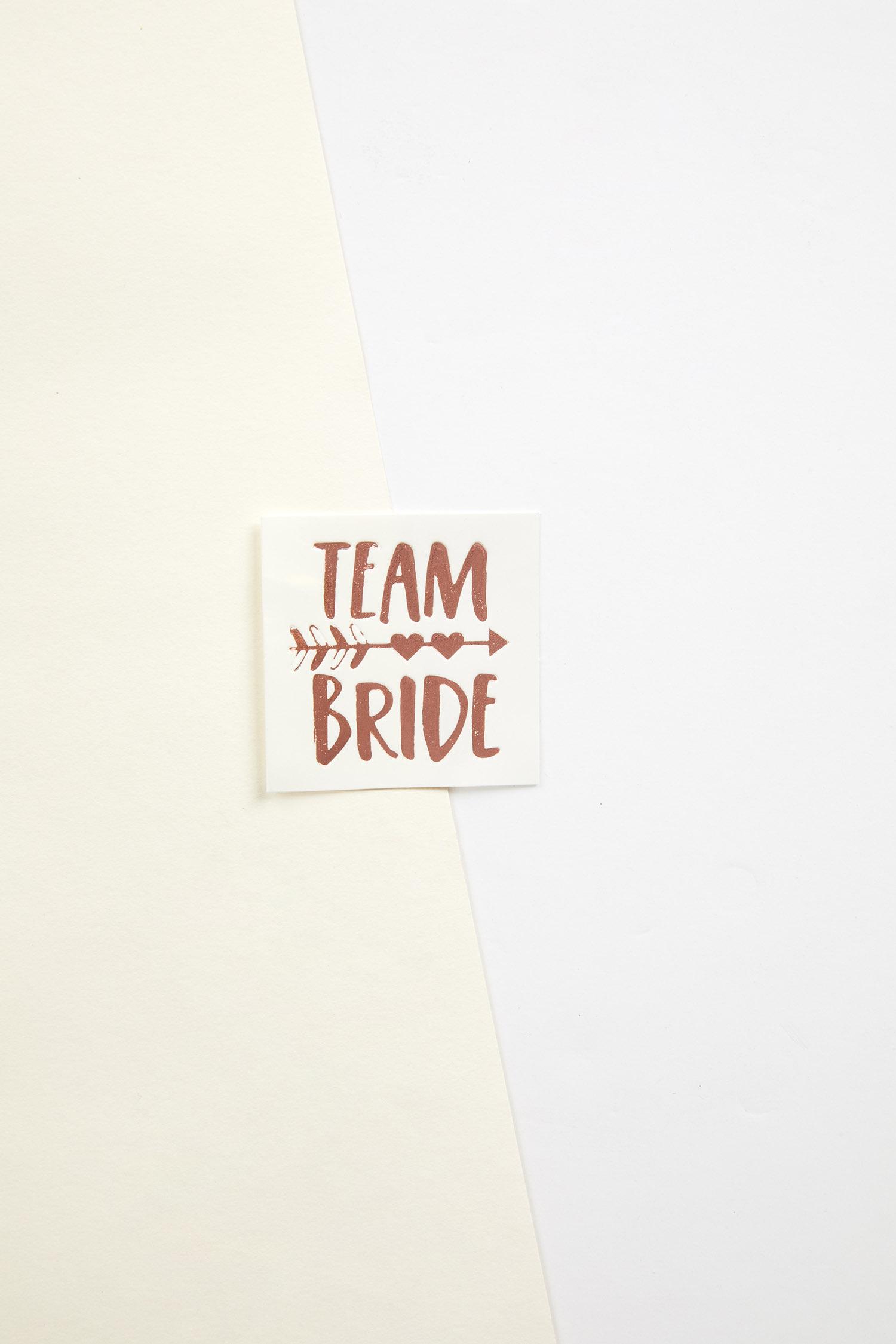 Rose Gold Yapıştırmalı Dövme Team Bride Yazılı