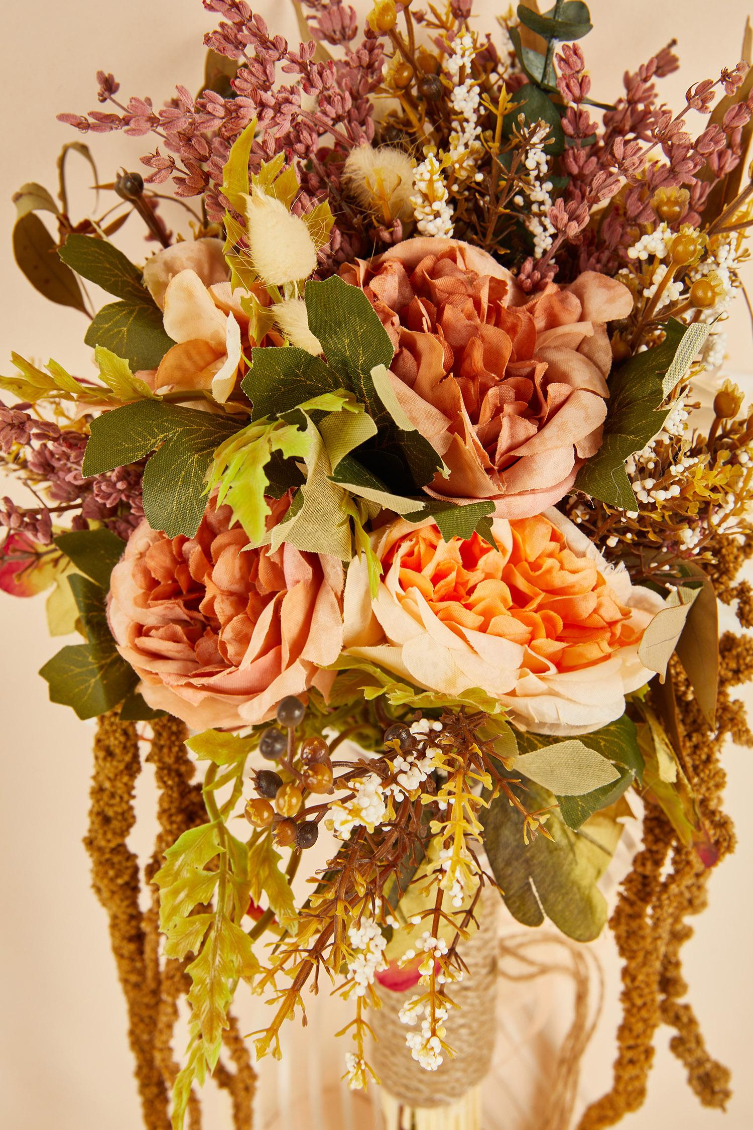 Rose Pembe Çiçekli Hasır İplikli Gelin Buketi - Thumbnail