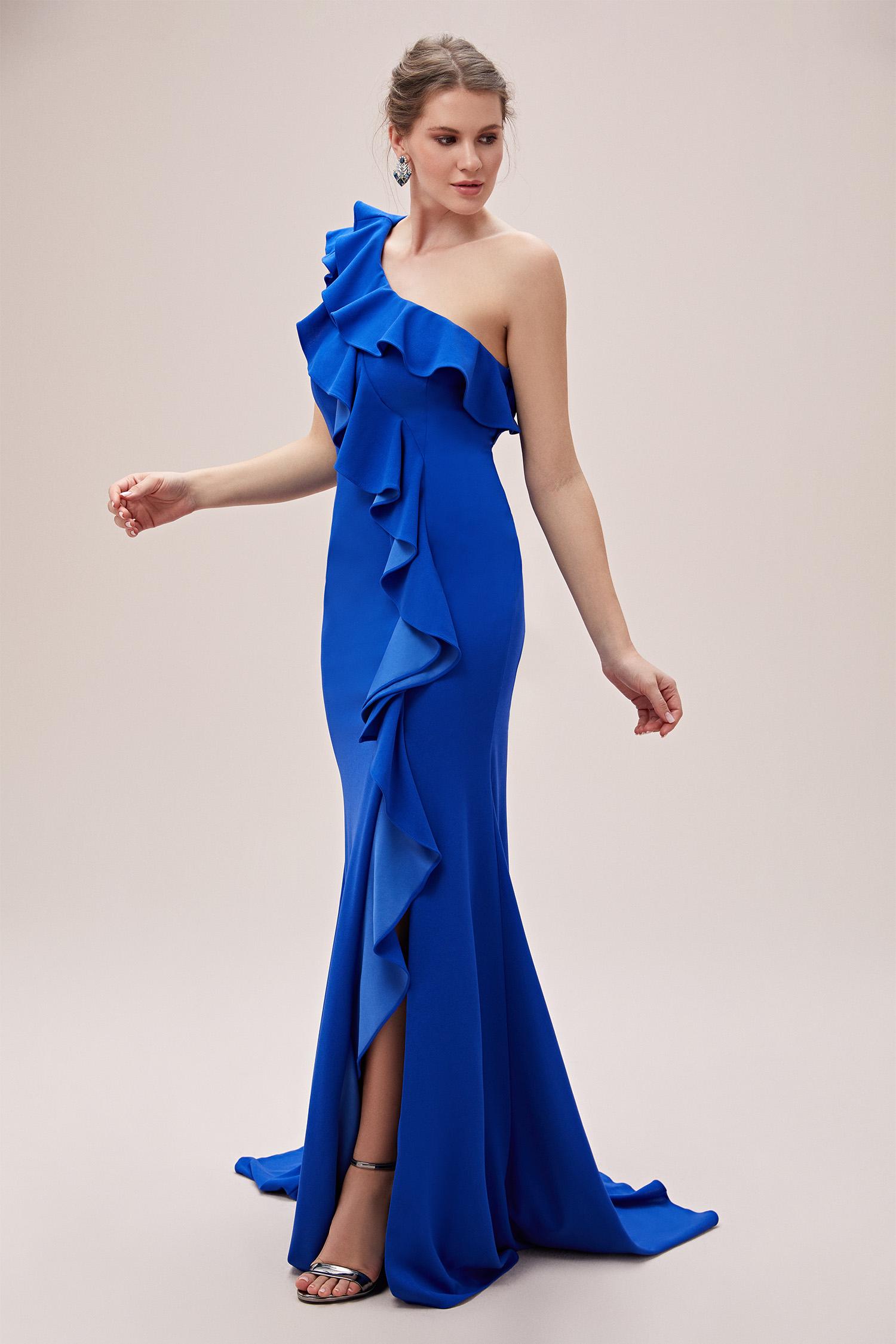 Saks Mavisi Tek Kollu Fırfırlı Uzun Büyük Beden Gece Elbisesi - Thumbnail