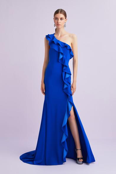Oleg by Oleg Cassini - Saks Mavisi Tek Kollu Fırfırlı Yırtmaçlı Uzun Abiye Elbise