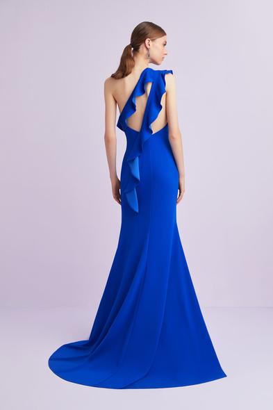 Oleg by Oleg Cassini - Saks Mavisi Tek Kollu Fırfırlı Yırtmaçlı Uzun Abiye Elbise (1)