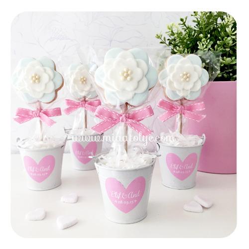 Mia Atölye - Saksıda Çiçek Kurabiye Nikah Şekeri MA1016