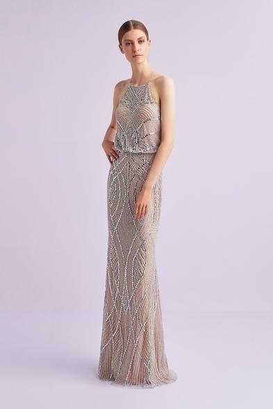 Viola Chan - Şampanya Rengi Halter Yaka Payet İşlemeli Uzun Abiye Elbise
