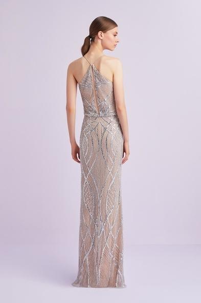 Viola Chan - Şampanya Rengi Halter Yaka Payet İşlemeli Uzun Abiye Elbise (1)
