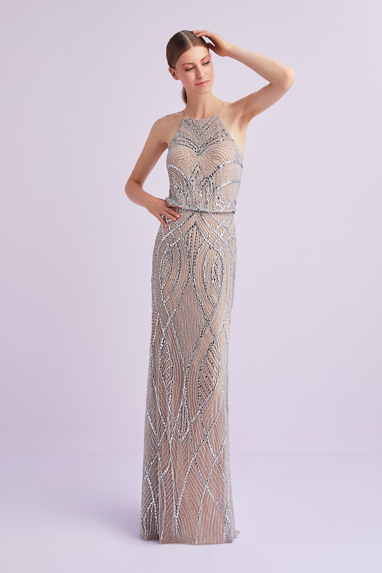 Şampanya Rengi Halter Yaka Payet İşlemeli Uzun Abiye Elbise - Thumbnail