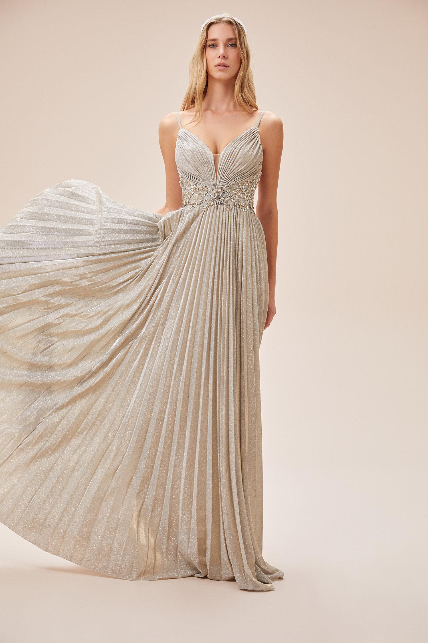 Şampanya Rengi İnce Askılı Kemer Detaylı Uzun Abiye Elbise - Thumbnail