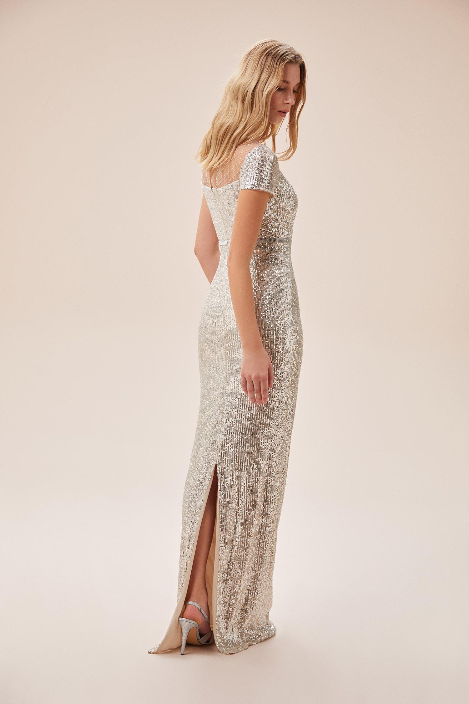 Şampanya Rengi Kısa Kollu Pul İşlemeli Uzun Abiye Elbise - Thumbnail