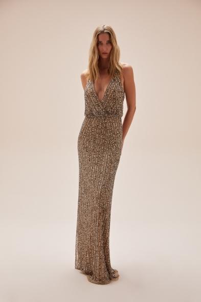 Viola Chan - Şampanya Rengi Payet İşlemeli Derin Kruvaze Yaka Uzun Büyük Beden Elbise