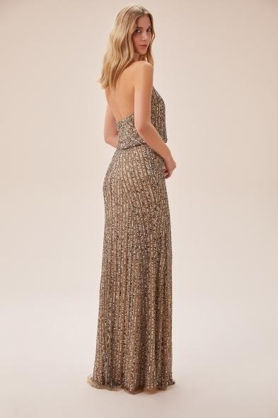 Viola Chan - Şampanya Rengi Payet İşlemeli Derin Kruvaze Yaka Uzun Büyük Beden Elbise (1)