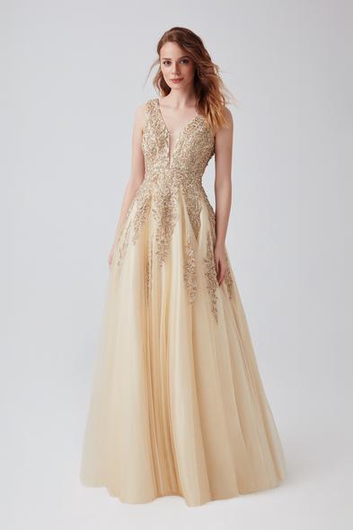 Viola Chan - Şampanya Rengi Payet İşlemeli A Kesim Uzun Abiye Elbise