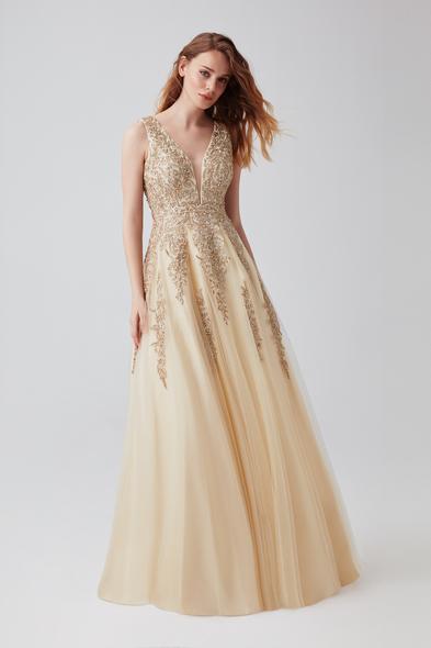 - Şampanya Rengi Payet İşlemeli Uzun Abiye Elbise - Oleg Cassini