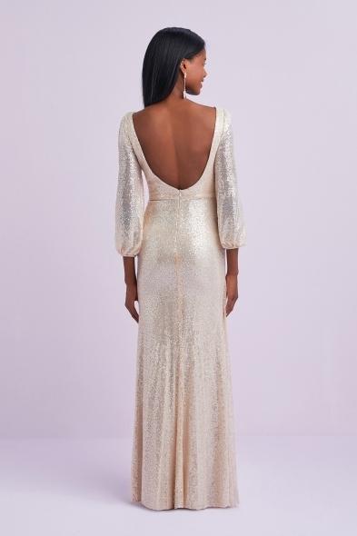 Oleg Cassini - Şampanya Rengi Payet İşlemeli Uzun Kollu V Yaka Uzun Abiye Elbise (1)