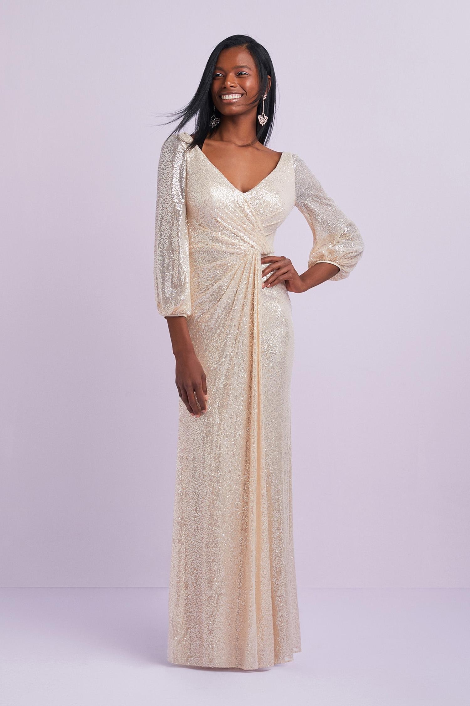 Şampanya Rengi Payet İşlemeli Uzun Kollu V Yaka Uzun Abiye Elbise - Thumbnail
