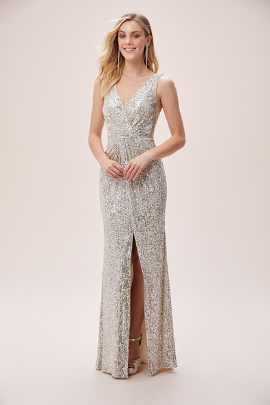 Viola Chan - Şampanya Rengi Payetli Askılı Yırtmaçlı Uzun Elbise