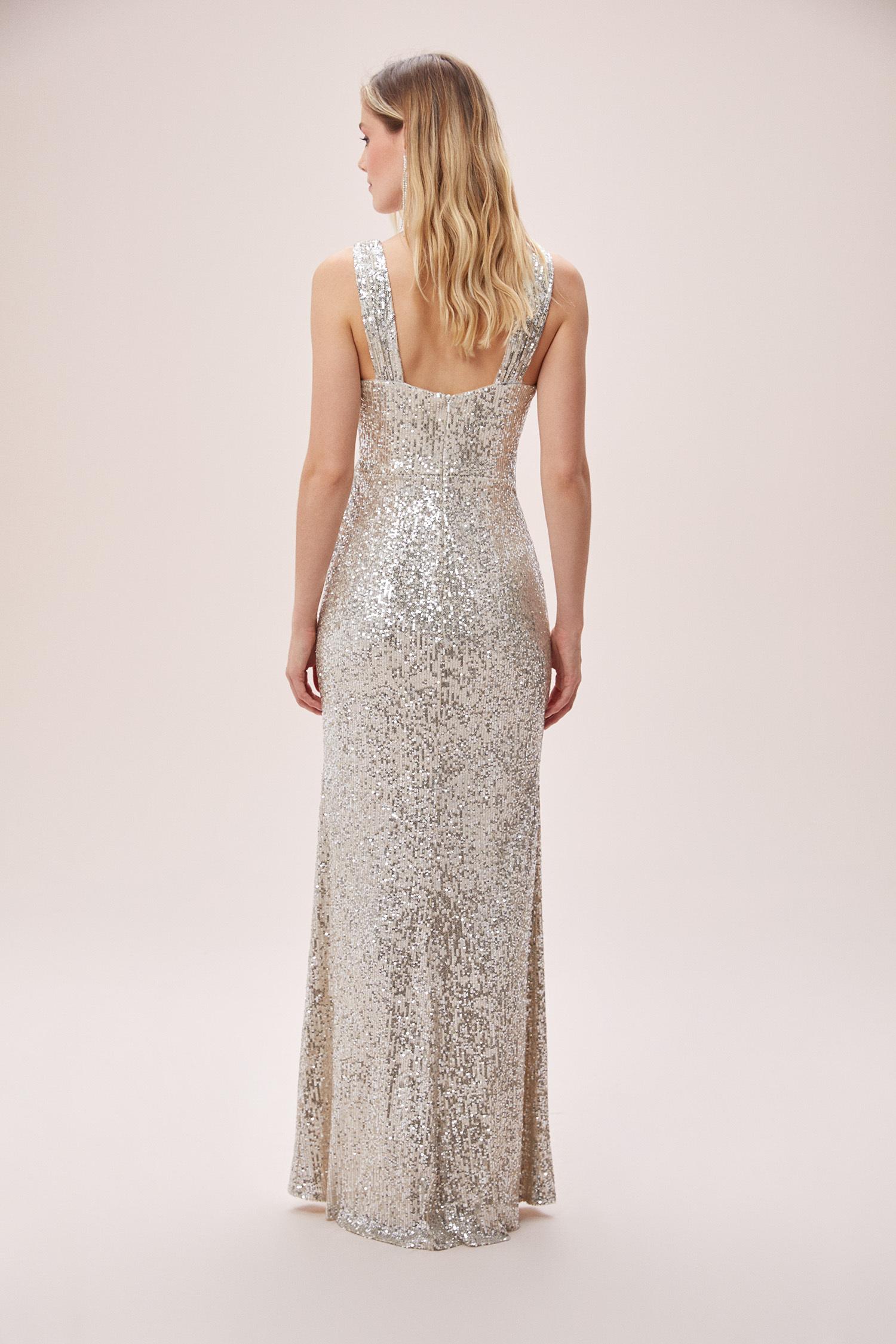 Şampanya Rengi Payetli Askılı Yırtmaçlı Uzun Elbise - Thumbnail
