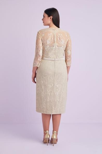 - Şampanya Rengi Uzun Kollu Dantel İşlemeli Büyük Beden Abiye Elbise - Oleg Cassini