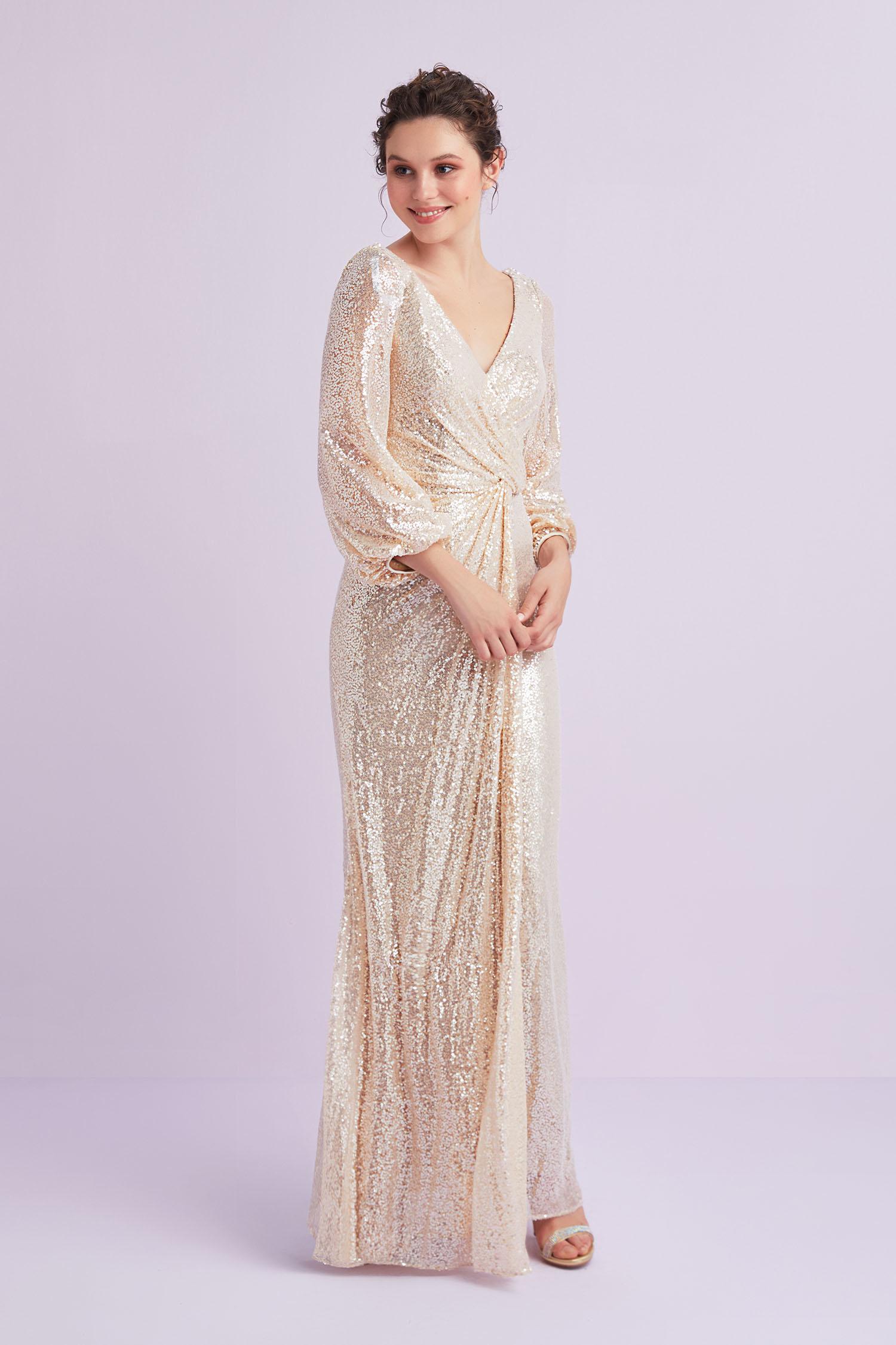 Şampanya Rengi Uzun Kollu Payet İşlemeli Abiye Elbise