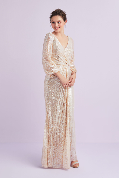Şampanya Rengi Uzun Kollu Payet İşlemeli Abiye Elbise - Oleg Cassini
