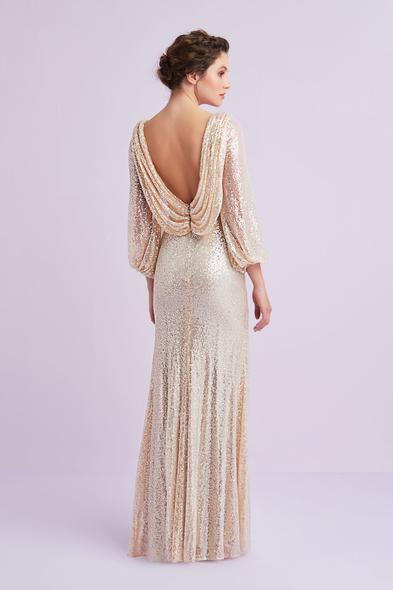 - Şampanya Rengi Uzun Kollu Payet İşlemeli Abiye Elbise - Oleg Cassini
