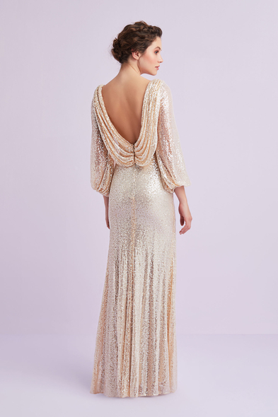 Viola Chan - Şampanya Rengi Uzun Kollu Payet İşlemeli Abiye Elbise (1)