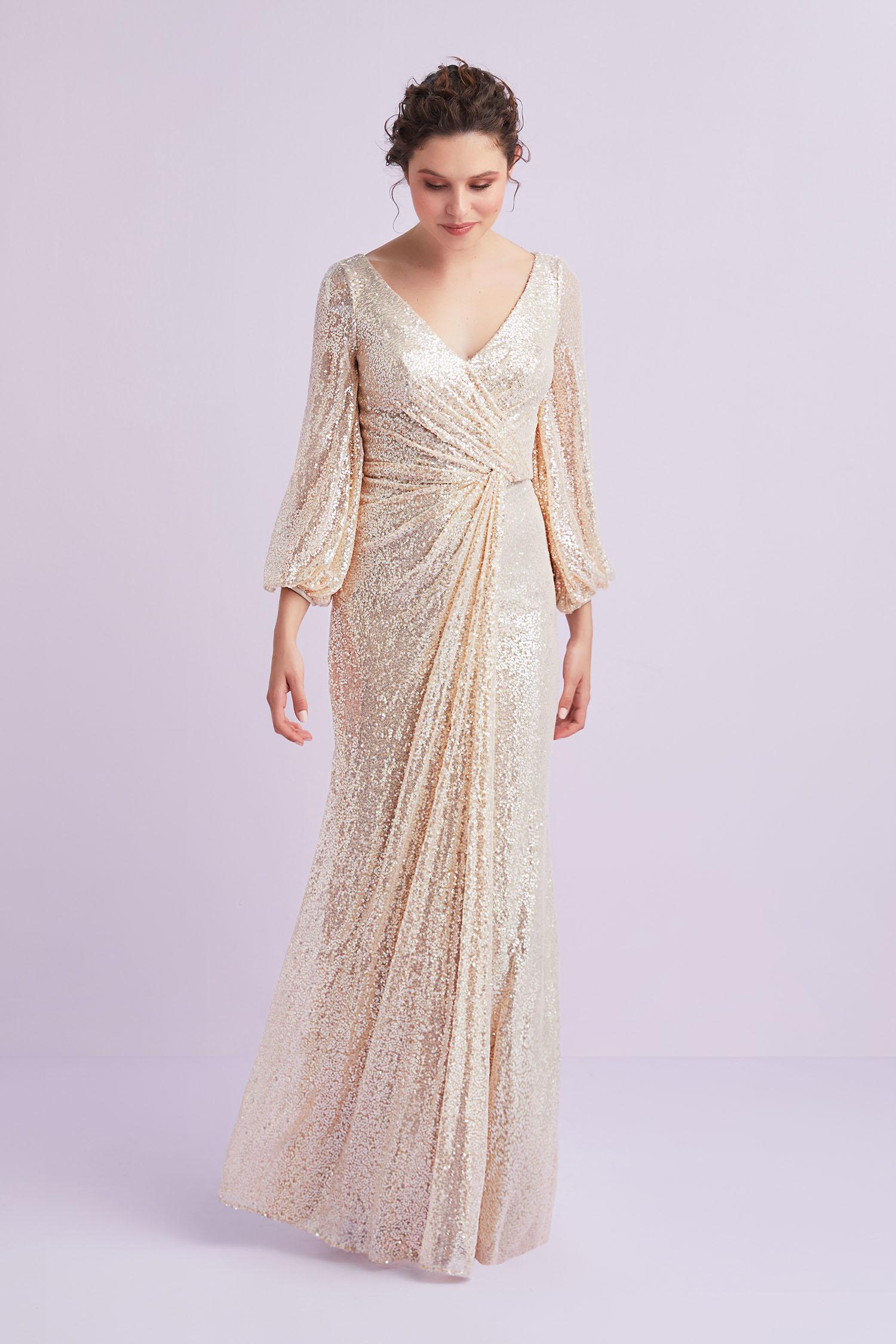 Şampanya Rengi Uzun Kollu Payet İşlemeli Abiye Elbise - Thumbnail
