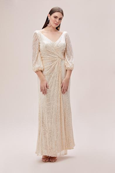 Viola Chan - Şampanya Rengi Uzun Kollu Payet İşlemeli Büyük Beden Abiye Elbise