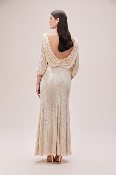 Viola Chan - Şampanya Rengi Uzun Kollu Sırt Dekolteli Payetli Uzun Büyük Beden Abiye (1)